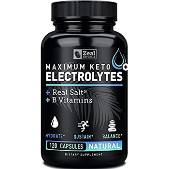 Keto Electrolyte Supplement (120 Capsules) Maximum Keto Electrolytes Supplements Pills w Real Salt®, B Vitamins, Magnesium and Potassium Supplement - Salt Pills & Electrolyte Tablets