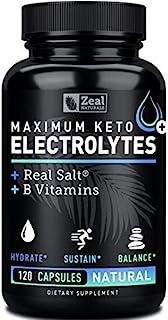 Keto Electrolyte Supplement (120 Capsules) Maximum Keto Electrolytes Supplements Pills w Real Salt®, B Vitamins, Magnesium...