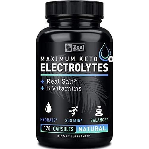 Keto Electrolyte Supplement (120 Capsules) Maximum Keto Electrolytes Supplements Pills w Real Salt®, B Vitamins, Magnesium and Potassium Supplement - Salt Pills & Electrolyte Tablets