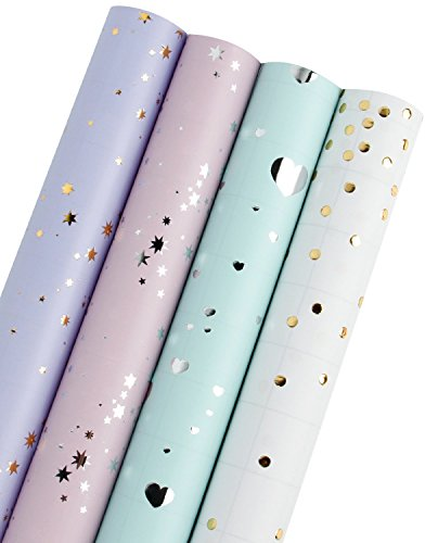 RUSPEPA Rollo de papel para regalo - Corazones/Lunares/Estrellas (2 tipos) Diseño para cumpleaños, día de la madre, Día de San Valentín, Boda, Baby Shower - 4 Rollos - 76 cm X 305 cm por rollo