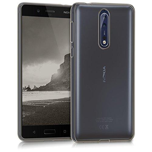 kwmobile Carcasa Compatible con Nokia 8 - Funda de Silicona para móvil - Cover Trasero en Negro/Transparente