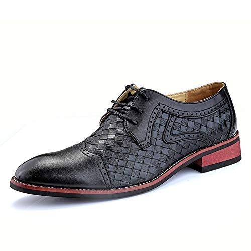 Oxford Business for los Zapatos Formales de los Hombres con Cordones de Cuero con Puntera sintética Soles Amortiguación Cosido patrón de Tejido de Color sólido clásico Moderno.