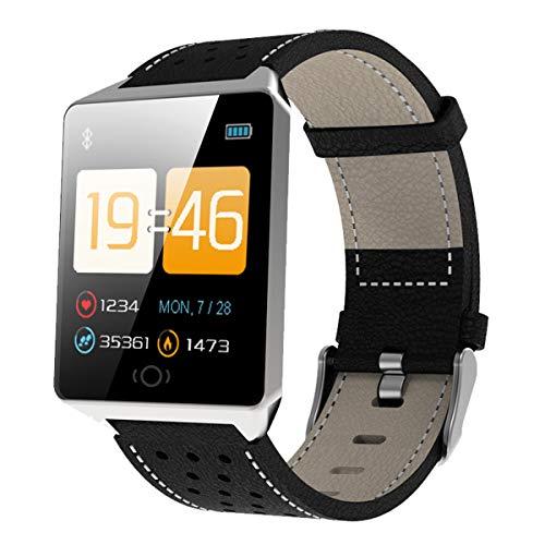 ZNMJW Intelligente Uhr,Bluetooth 1,3 Zoll Touch Leder Armband Schrittzähler Herzfrequenz Schlaf Überwachung Bluetooth Sport Armband, Unterstützung Android, iOS-Silver