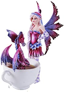 Pacific Giftware Amy Brown Get Out of My Tub Cup Fairy Dragon Fantasy Art Figurine Collectible 6.25 inch