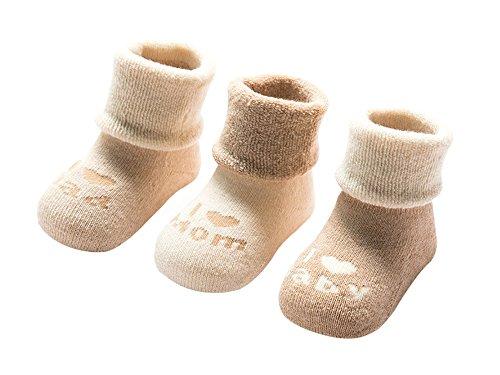 DEBAIJIA 3 Pares de Calcetines Bebé Algodón organico Grueso Calcetines Térmicos Largo Recién Nacidos 0-6 Meses Invierno Para Niños Niñas Cartas