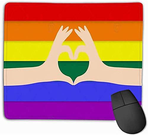 N/A muismat handen maken hart regenboog vlag achtergrond lgbt liefde ondersteuning kleurrijke mode rechthoek rubber muismat 25 * 30Cm