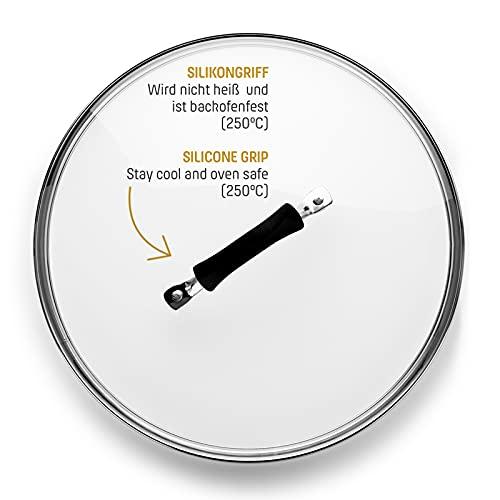 Coolinato Glasdeckel mit Griff aus Silikon 28cm komplett backofenfest, Universaldeckel für Töpfe, Pfannen, Deckel Glas rund, Ersatzdeckel