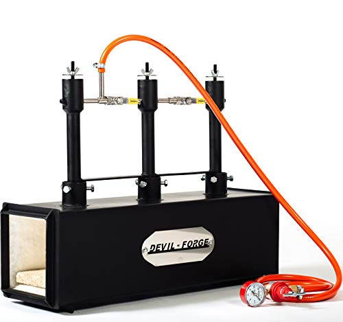 Forgia a gas propano – DFPROF3 | con 3 bruciatori DFP (80,000 BTU) | fabbri maniscalco realizzatori di coltelli lavori di forgiatura | bruciatori con valvole a sfera per gas Utilizzare 1, 2 o 3