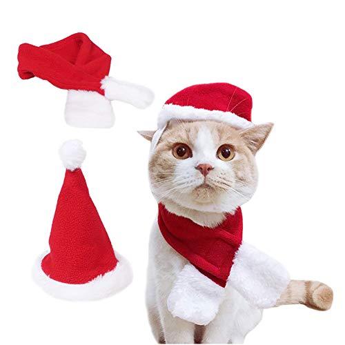 Kuoser - Gorro y bufanda para perro o gato, ajustable, para disfraz de mascota, corbata de Papá Noel, regalo de...