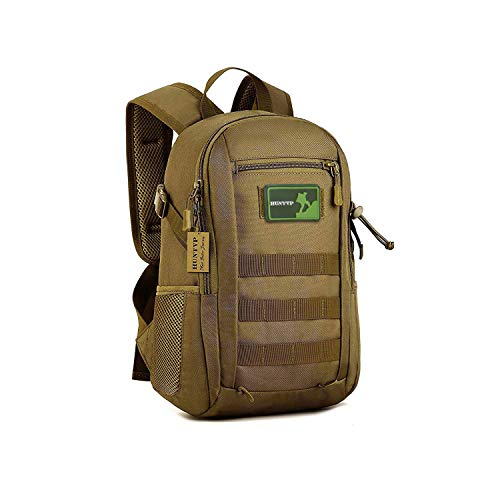 Huntvp 10L Mini Daypack Militär MOLLE Rucksack Ausrüstung Tactical Assault Pack Tasche für Jagd Camping Trekking Reisen, 10 l, Dunkelbraun, 10L