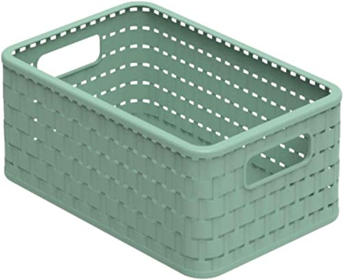 Rotho Country Aufbewahrungskiste 6l in Rattan-Optik, Kunststoff (PP recycelt) BPA-frei, grün, A5/6l (28,0 x 18,5 x 12,6 cm)