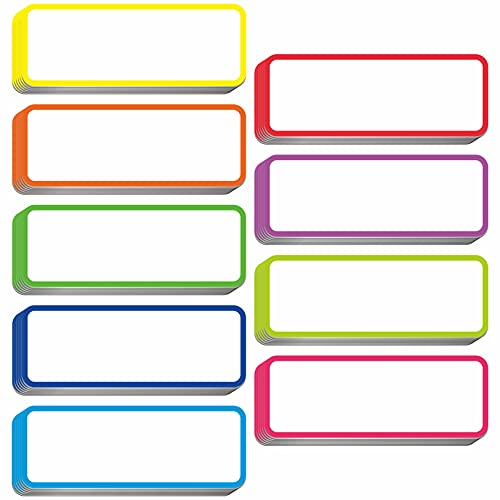 54 PCs Magnetic Dry Erase Reusable Name Tag Label Plate Rainbow Neon Sticker in 9 Colors for Whiteboards Locker Fridge School Office Home (3.2' x 1.2' Each)