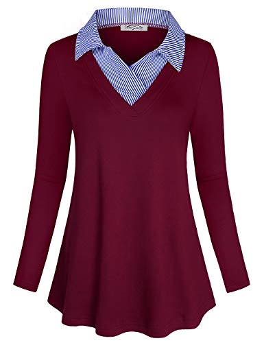 SeSe Code Career Tops for Women,Layered Shirts Ladies Blouses Business Casual Clothes Maroon Holiday V Neck Polo Collar Spring Easy Fit Comfort Flowy Tunic Wine Red XLarge