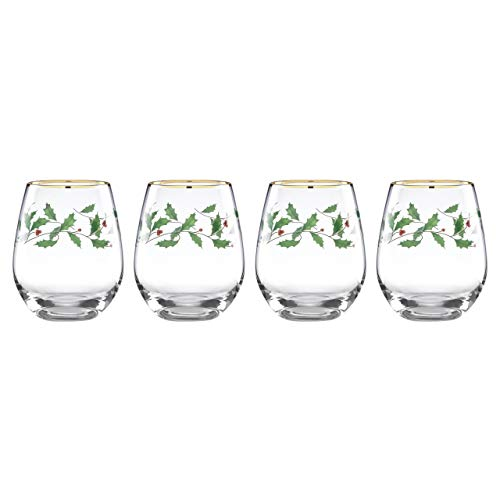 Lenox Holiday 4-Piece Stemless Wine Glasses