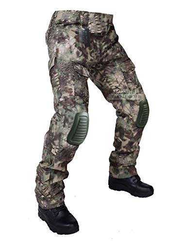 ZAPT Tactical Pants with Knee Pads Airsoft Camping Hiking Hunting BDU Ripstop Combat Pants 13 Kinds Army Camo Uniform Military Trousers (Mandrake Camo, L36)