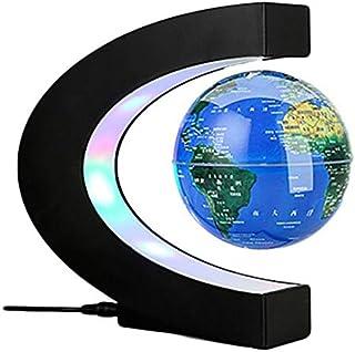 Levitazione Magnetica Globo Ovale 3 Pollici Levitazione Floating Globe World Map Girante a 360 Gradi Kids Desktop Home Office Globo Decorativo con LED Light Base ellittica Espositore