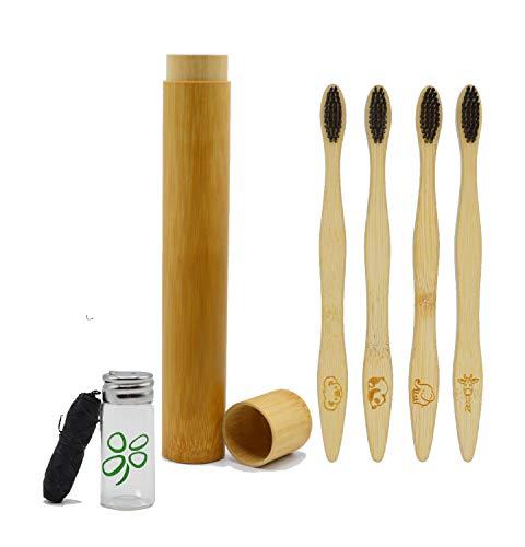 Spazzolino Bamboo Denti, Set 4 Spazzolini Bambu, Regalo Custodia Viaggio Portatile, Filo Interdentale co Biodegradabile Ecologico Vegan, Setole Carbone Attivo Naturale Sbiancamento, No Muffa, No Waste