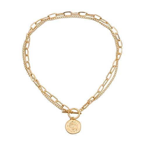 Revilium Collier Vintage Métal Multicouche Grand Métal Amour Collier Dames Bijoux Cadeau Lune Carte Corne Tour De Cou Colliers Bijoux