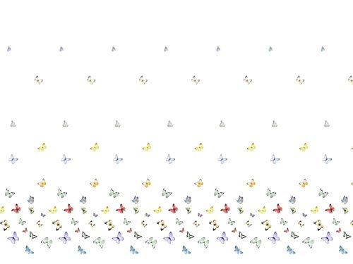 Venesto Gardinenstoff Organza Wonderland Schmetterlinge Muster Multicolor hochwertiger Stoff als Meterware halbtransparent