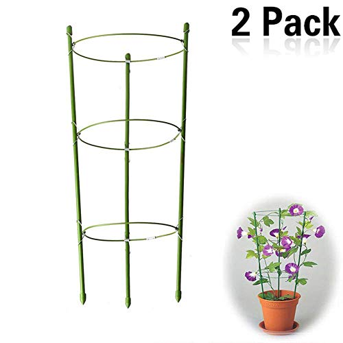 Yojoloin 2 Pack Garden Plant Support Ring Garden Trellis Flower stainless Steel Support Climbing Vegtables&Flowers&Fruit Grow Cage with 3 Adjustable Rings 17.5'/45cm(2PCS)