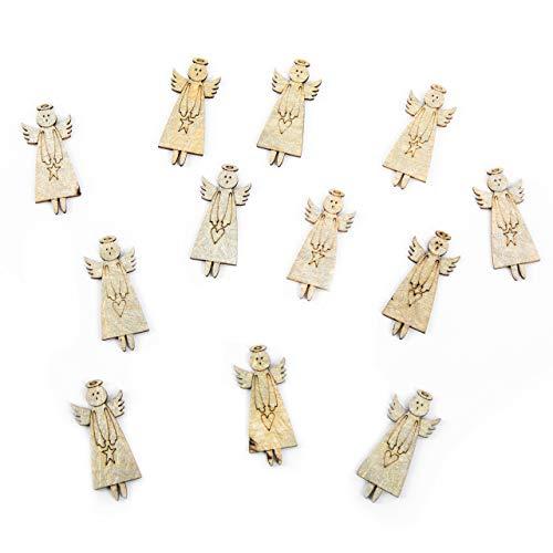 Logbuch-Verlag 12 kleine Mini Engel aus Holz goldfarben Holzengel Streudeko Tischdeko Weihnachtsengel Streuteile Deko Weihnachten Miniatur Kleinigkeit