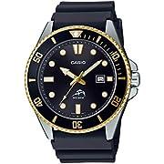 Casio Men's Diver Inspired Stainless Steel Quartz Watch with Resin Strap, Black, 25.6 (Model: MDV106G-1AV)