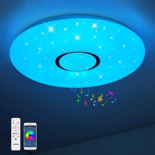 Bluetooth Deckenleuchte JDONG 24W Ø 40CM LED Deckenlampe mit Lautsprecher, Fernbedienung und APP-Steuerung, JDONG RGB Farbwechsel, dimmbar, sternen, IP44 Wasserfest