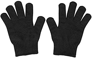 Cut Resistant Gloves,ShowTop Food Grade Gloves Black Metal Fishing Steel Mesh Gloves-Safety Food Grade Cutting Gloves for ...