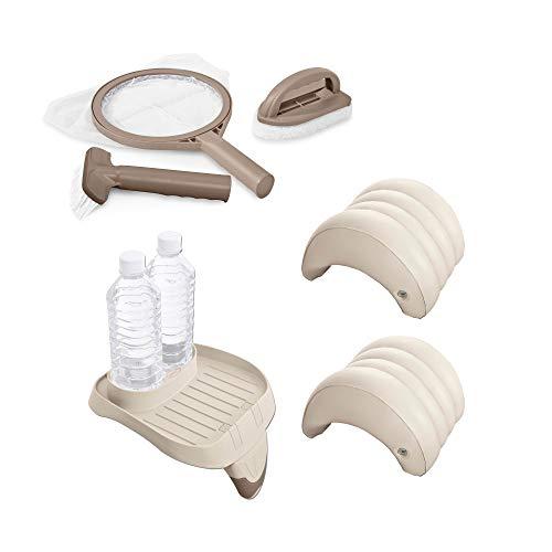Intex Spa Kit de mantenimiento para spa, portavasos y bandeja y reposacabezas inflable (2 unidades)