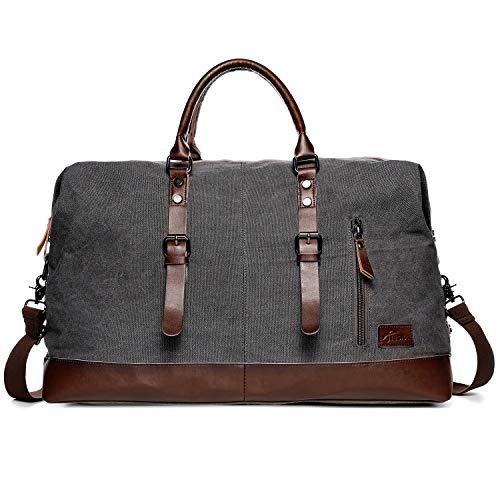 Reisetaschen Damen Herren, Fresion Canvas Handgepäck Tasche, Vintage Urlaub Weekender Tasche Travel Bags, Reise Duffel Bag mit der Großen Kapazität (Grau)