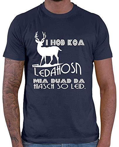 HARIZ Herren T-Shirt Koa Ledahose Hiasch So Leid Oktoberfest Outfit Plus Geschenkkarten Navy Blau M