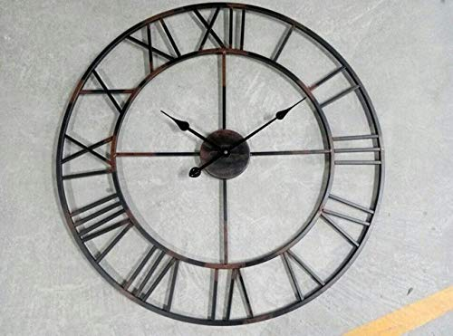LOSDFVI wandklok Vintage 80cm 50cm Grote wandklok Smeedmetaal Industriële IJzeren Klok Horloge Saat Klassieke Digitale Klokken