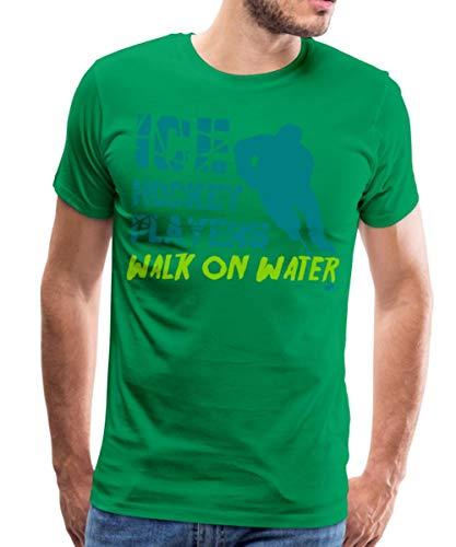 Eishockey Ice Hockey Players Walk On Water Männer Premium T-Shirt, XL, Kelly Green
