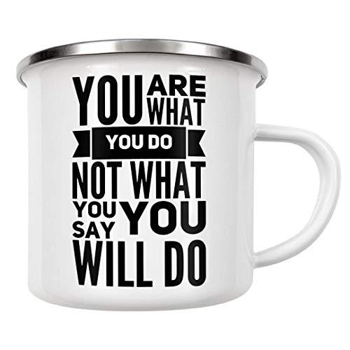 artboxONE Emaille Tasse Du bist was du tust Nicht was du sagst, du wirst tun von WAM - Emaille Becher Typografie