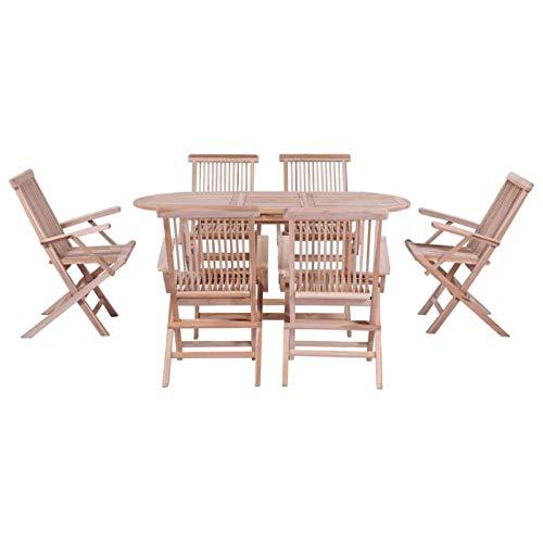 QWSX Einfaches Design 7pcs Einfaches Outdoor Dining Set mit Klappstuhl Möbeln Set for Garten-Terrasse, Balkon Modernen Tisch Sanded Teak Hartholz Dauerhaft (Color : Brown)