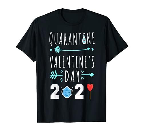 Divertido día de San Valentín cuarentena 2021 máscara de mujer, regalo de corazón Camiseta