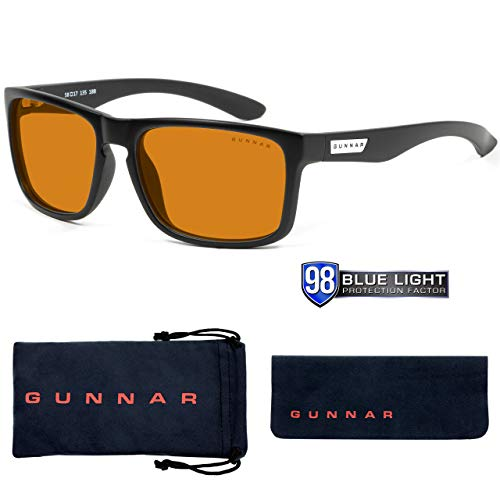 GUNNAR - Gaming and Computer Glasses - Blocks 98% Blue Light - Intercept, Onyx, Amber Max Tint