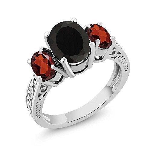 Gem Stone King 925 Sterling Silver Black Onyx & Red Garnet 3-Stone Women's Ring 2.73 Cttw (Size 8)