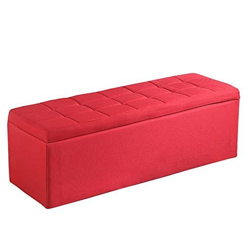 WHOJA Plegable Ottoman Taburete de Tela for sofá Caja de Almacenamiento de Juguetes Cubierta con bisagras Banco de Zapatos de Madera Maciza Teniendo Peso 150 kg Otomanos
