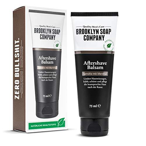 Bálsamo Aftershave (75 ml) · Brooklyn Soap Company · Cuidado natural de los hombres después del afeitado · Alivia la irritación de la piel, tiene un efecto antibacteriano y calma la piel