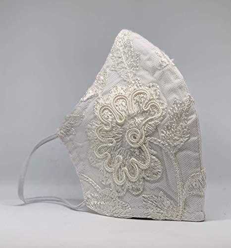 Mund und Nasenbedeckung Hochzeit waschbar 100% Baumwolle weiß mit Spitze für schmale Gesichter hergestellt in Deutschland mit Gummibändern