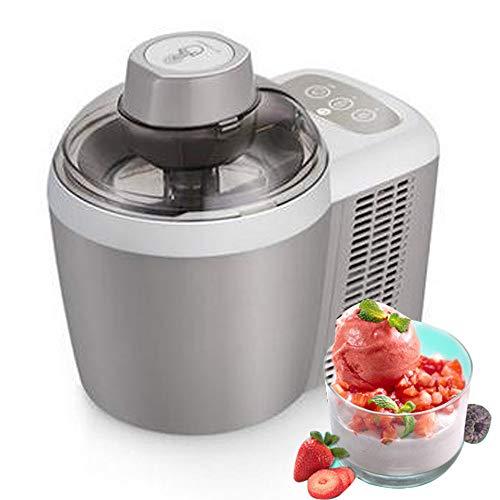 wolfjuvenile Vollautomatische Edelstahl Eismaschine, 90-W-Sorbet-Gefrierjoghurtmaschine, Hausgemachte Gefrorene Fruchteismaschine, Ideal FüR EIS, Sorbet Und Gefrorenen Joghurt,Grey