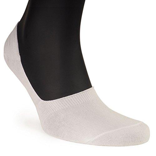 ALL ABOUT SOCKS Calcetines invisibles hombre (Pack de 5) - Antideslizante & Algodón suave - Tiras de silicona - Calcetines cortos blancos y negros
