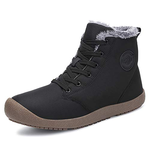 Dannto Womens Mens Warm Snow Boots Winter Ankle Bootie Anti-Slip Fur Lined Ankle High Top Boots Lace up Outdoor Cold Shoes Black Size 8 Men/9 Women