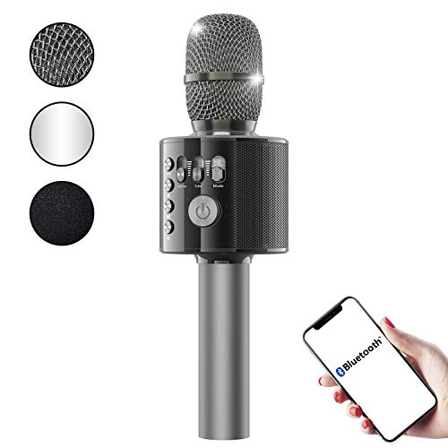 2021 Upgraded Bluetooth Karaoke Microphone - FlyBeBe Wireless Microphone Portable Handheld Karaoke Microphone Speaker Machine, Car Microphone for Home Party, Microphone for Kids/Adults Outdoors