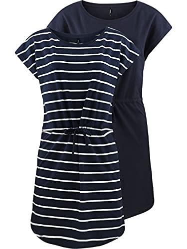 ONLY Damen Sommer Mini Kleid onlMAY S/S Dress 2er Pack Grösse XS S M L XL XXL Gestreift Schwarz 100% Baumwolle, Größe:L, Farbe:Night Sky Primo...