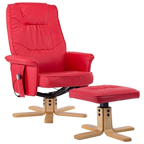 vidaXL Massagesessel mit Fußhocker Hocker Wärmefunktion Massage Relaxsessel Fernsehsessel TV Sessel Polstersessel Ruhesessel Rot Kunstleder