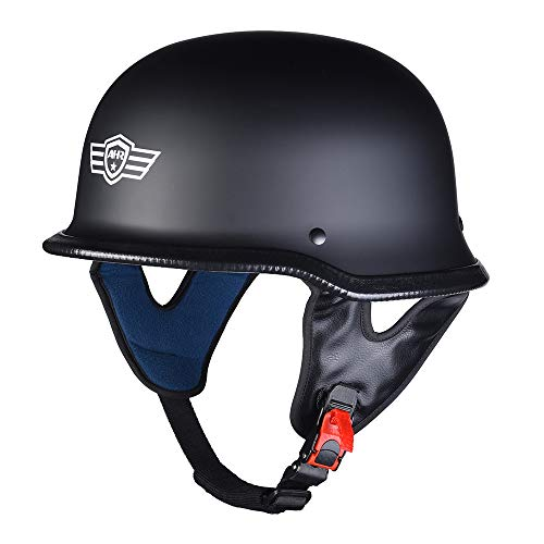 AHR Run-G DOT German Style Motorcycle Half Helmet Open Face Cruiser Chopper Biker Skull Cap Helmet Black L