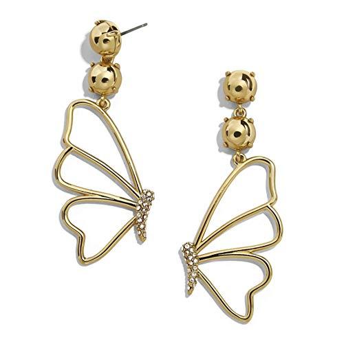 Yhhzw Lady Gold Color Metal Large Butterfly Stud Earrings For Women Rhinestone Earrings Jewelry Female