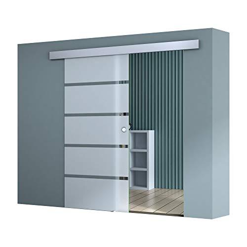 Sogood 775 x 2050 mm Design Glasschiebetü TS11-775 ESG Sicherheitsglas Teilsatiniert Schiebetür Glastür Zimmertür Bürotür